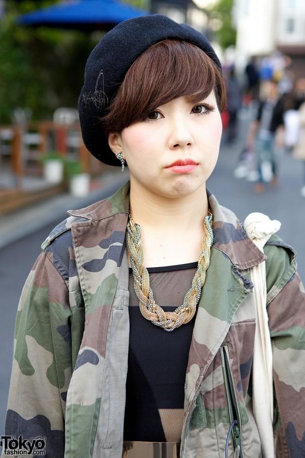 Camouflage jacket in Harajuku