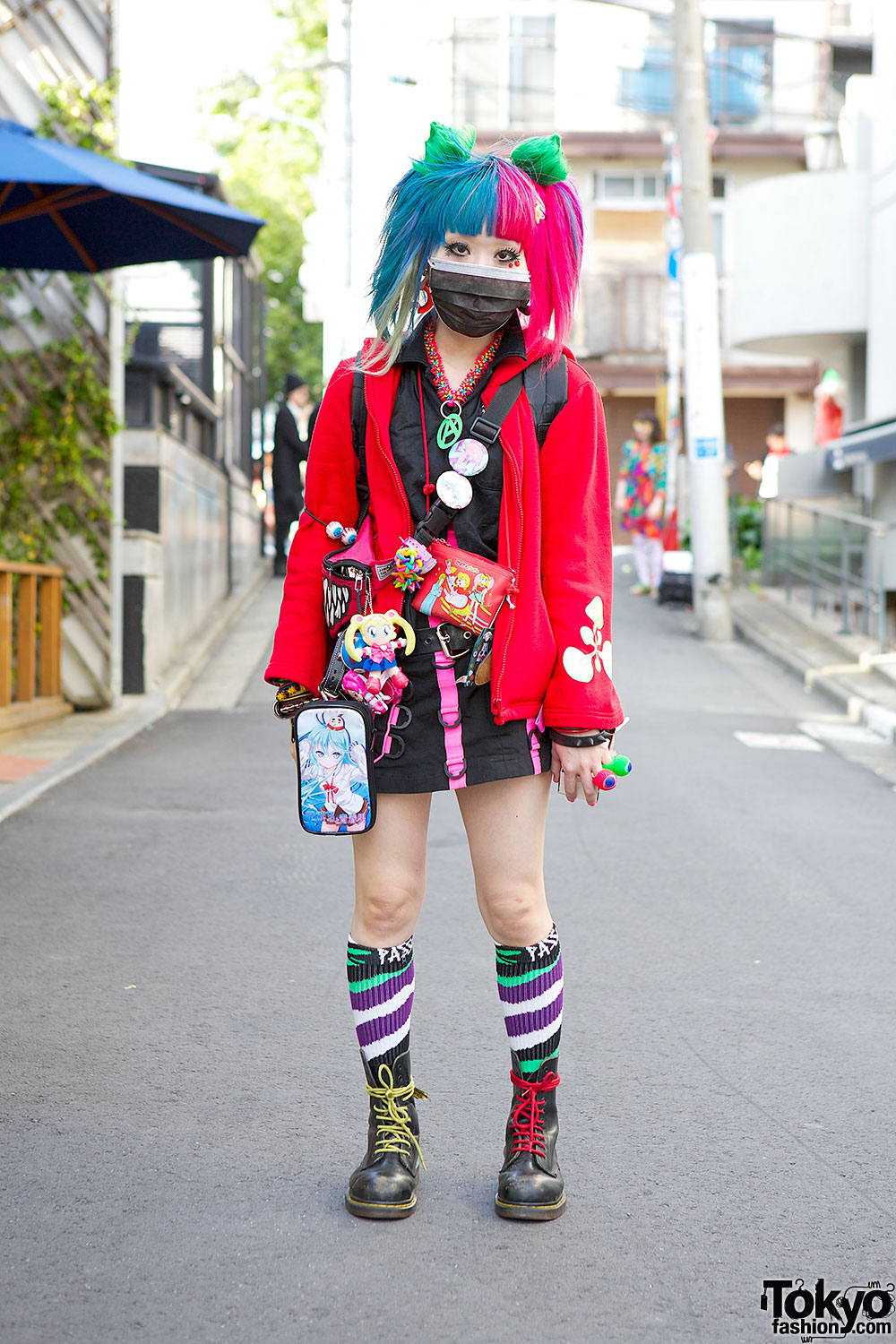Rainbow Hair W Space Tribe Mini Dr Martens Anime Accessories In Harajuku