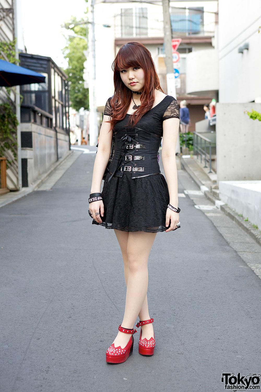 Black Lace Dress & Corset in Harajuku