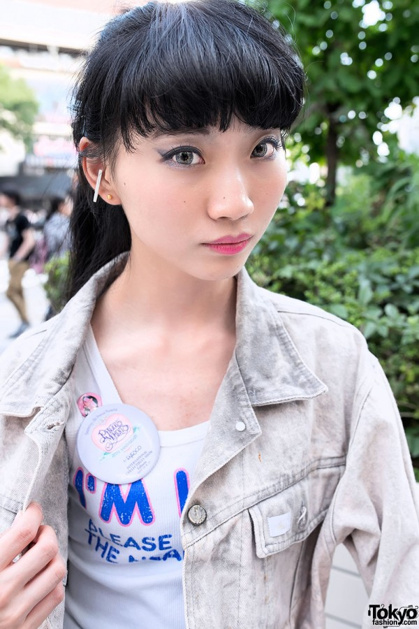 Acid Wash Jacket & Cute Button