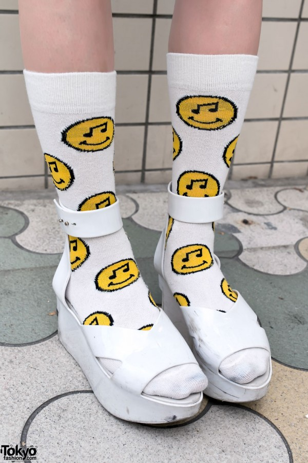 Platform Sandals & Smiley Socks