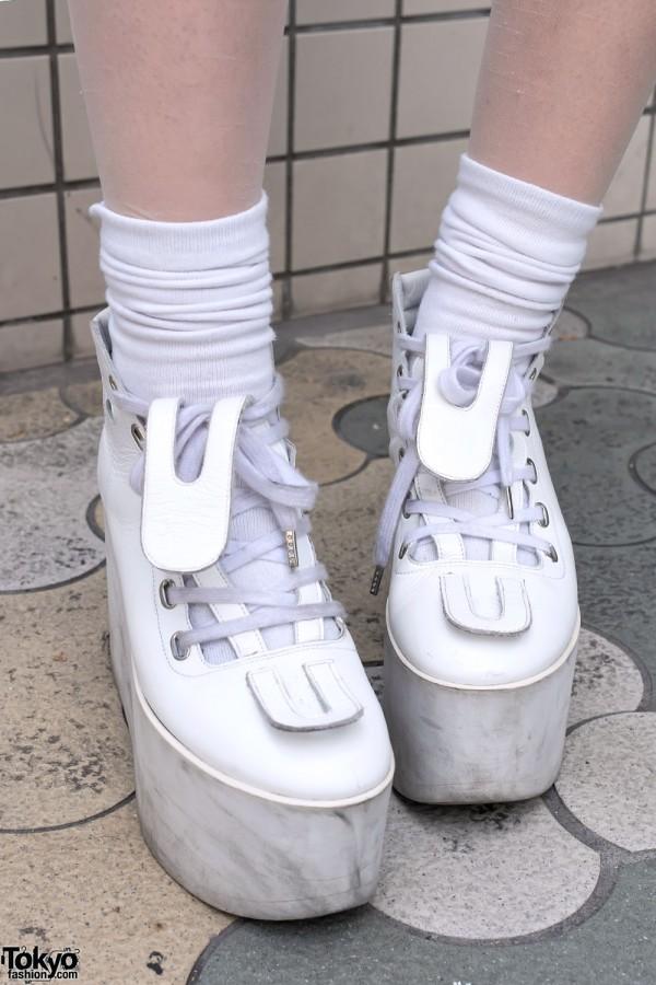 White Tokyo Bopper Platform Boots
