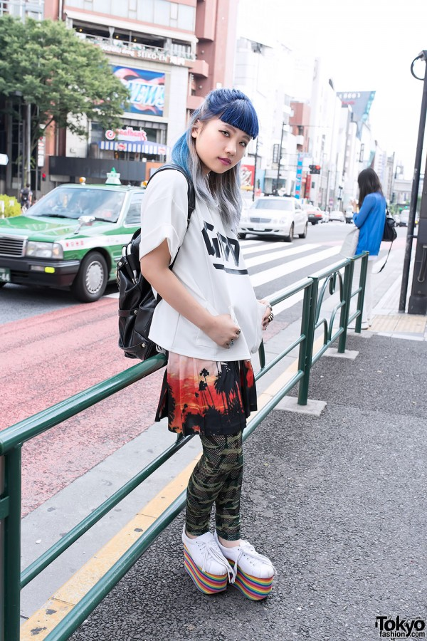 Short Blue Bangs, Rainbow Platforms & Nincompoop Capacity Backpack in Harajuku