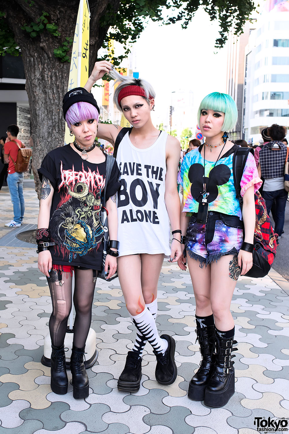 Chamii miho maho w pink green hair piercings boy london in harajuku Japanese fashion style icon