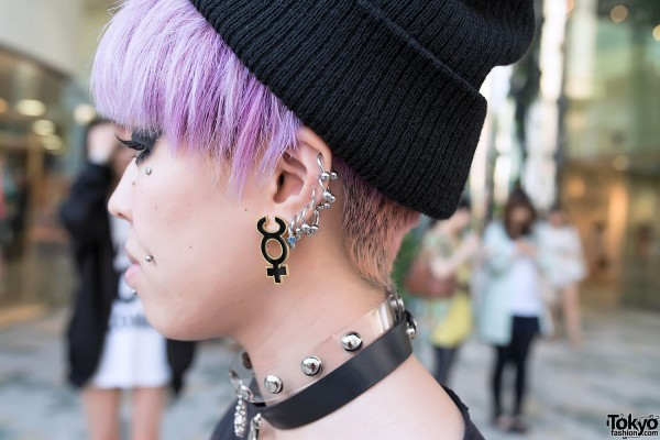 Piercings, Choker & Pink Hair in Harajuku