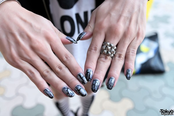 Nail Art & Silver Ring In Harajuku