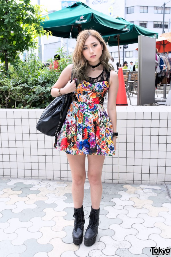 Flower Lace Dress Yru Platform Boots Choker In Harajuku