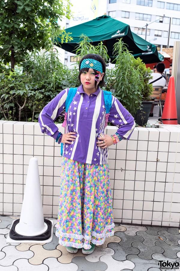 Cute Decora Hair Clips w/ Colorful Fashion & Makeup in Harajuku