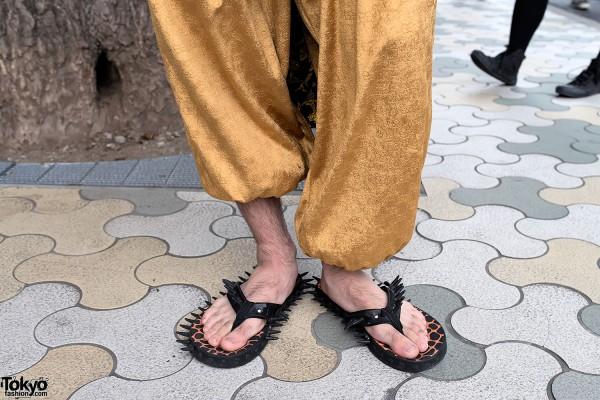 Gold Harem Pants in Harajuku