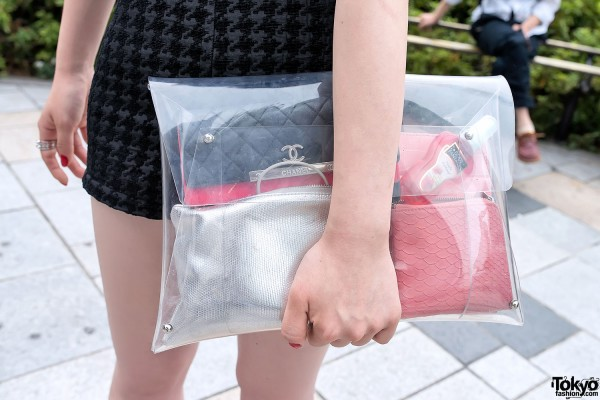 Clear Clutch & Chanel Wallet