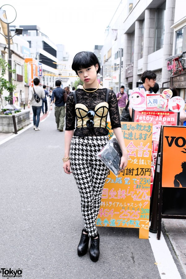 Gold Bustier, Houndstooth Pants & Clear Clutch in Harajuku