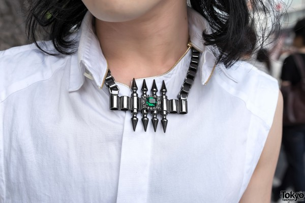 Mawi Spike Emerald Necklace