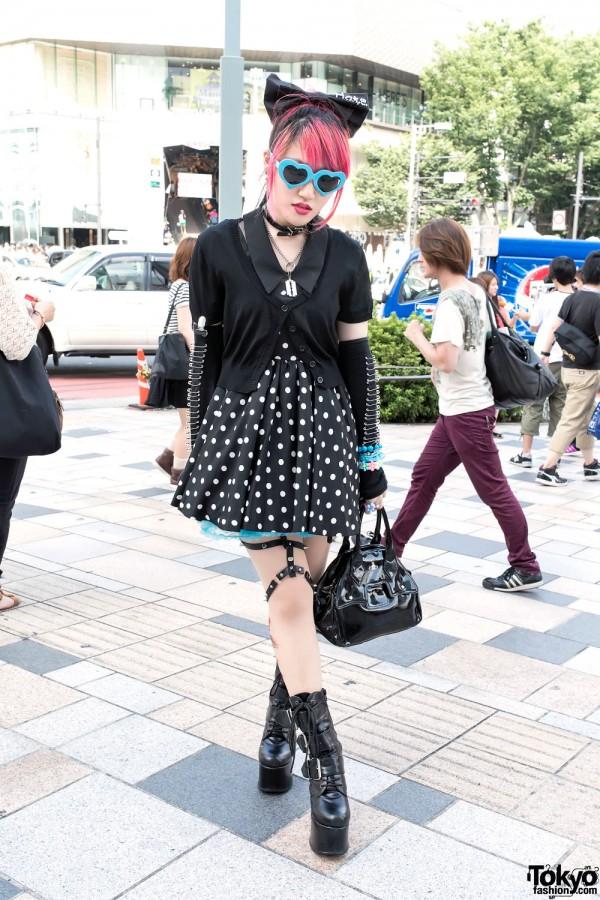 Polka Dot Skirt & Punk Arm Warmers
