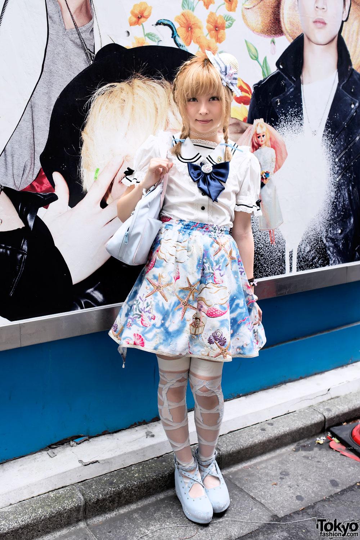 Mermaid Print Skirt in Harajuku