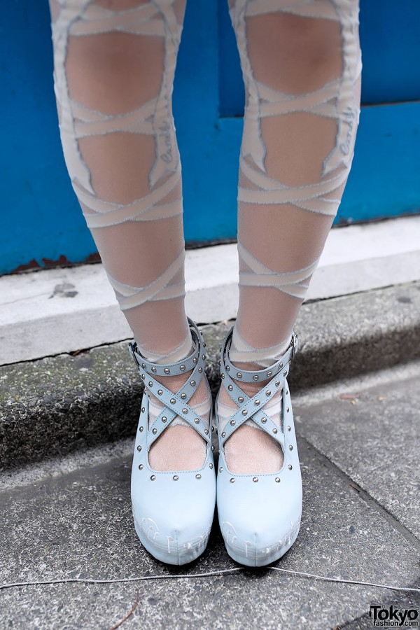 Ribbon Tights & Studded Pastel Wedges