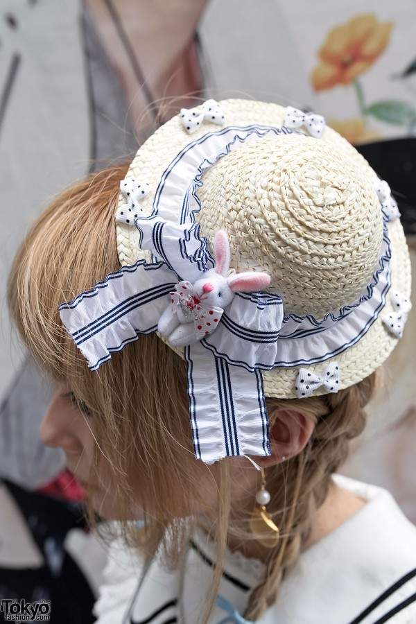 Cute Bunny Straw Hat in Harajuku