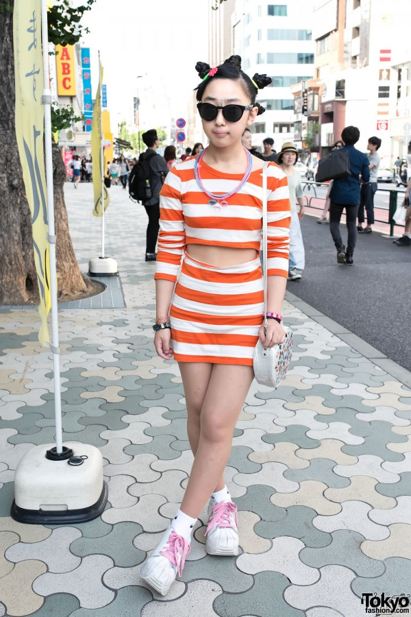 Monroe Wearing Stripes in Harajuku