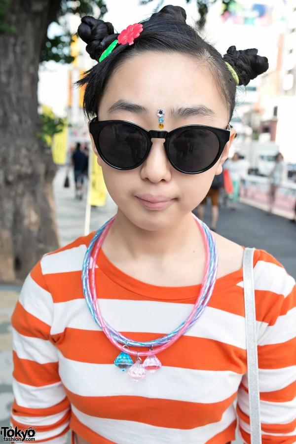 Cute Triple-bun Hairstyle in Harajuku