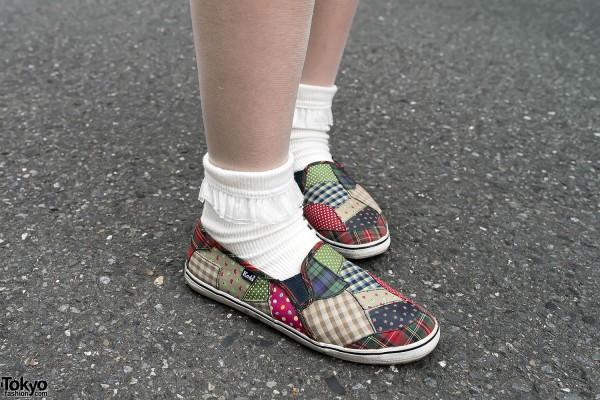 Cute Print Keds & Ruffle Socks