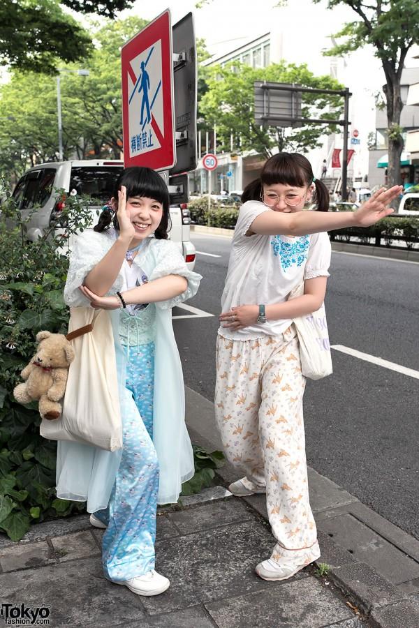 Cute Harajuku Girls in Pajama Pants
