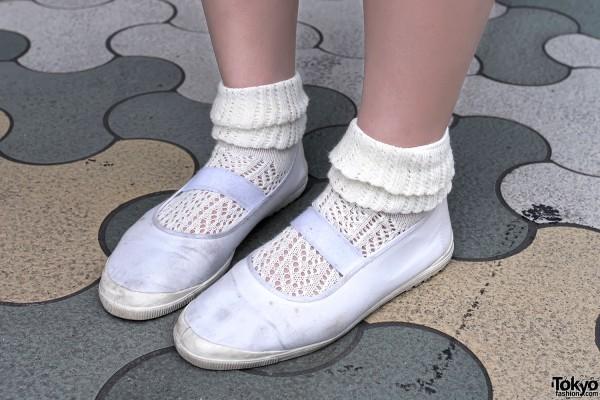 Canvas Flats & Knit Socks