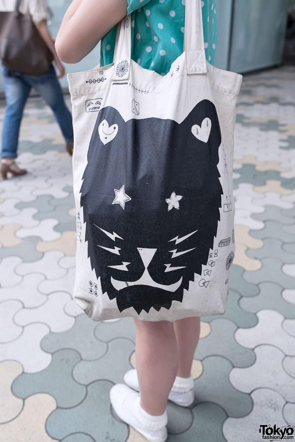 Graphic Lion Tote Bag in Harajuku