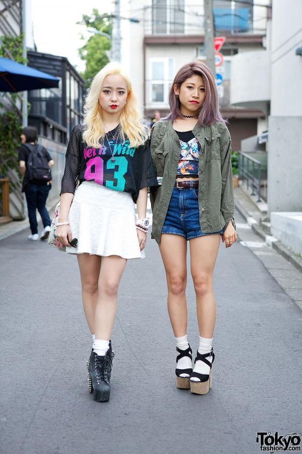 Mesh Top & Spike Boots vs Crop Top & High Waist Shorts in Harajuku