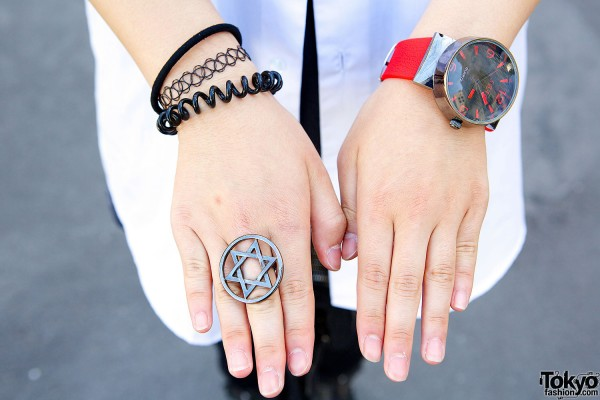 Star Ring & Red Wristwatch