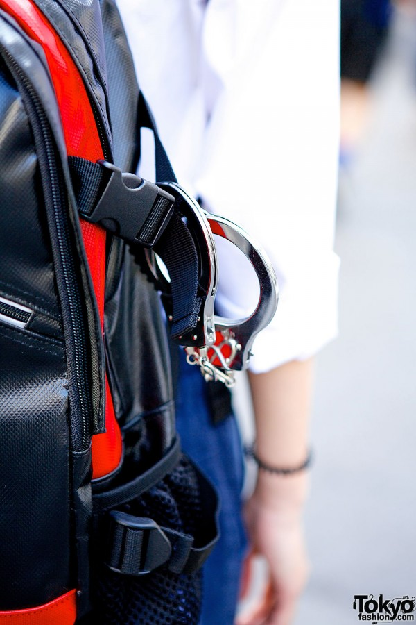 Black red backpack