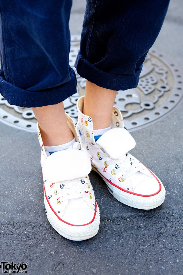 Anchor print sneakers