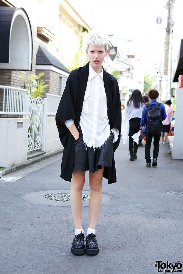 Fashion Model's Short Platinum Hair, One Teaspoon Top & T.U.K. Creepers in Harajuku