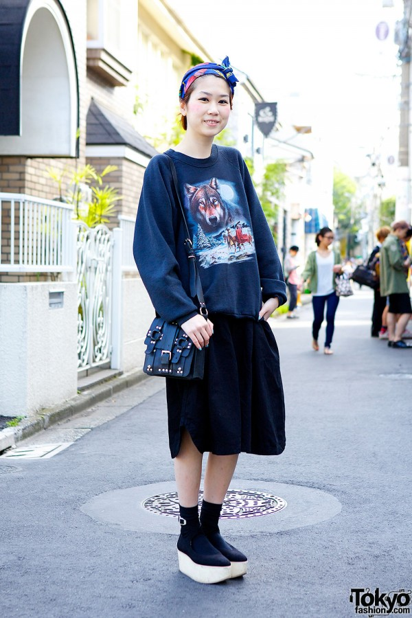 Native American Wolf Sweatshirt, Headscarf & Tokyo Bopper in Harajuku