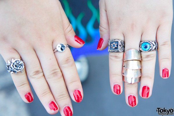 Rings & red nails