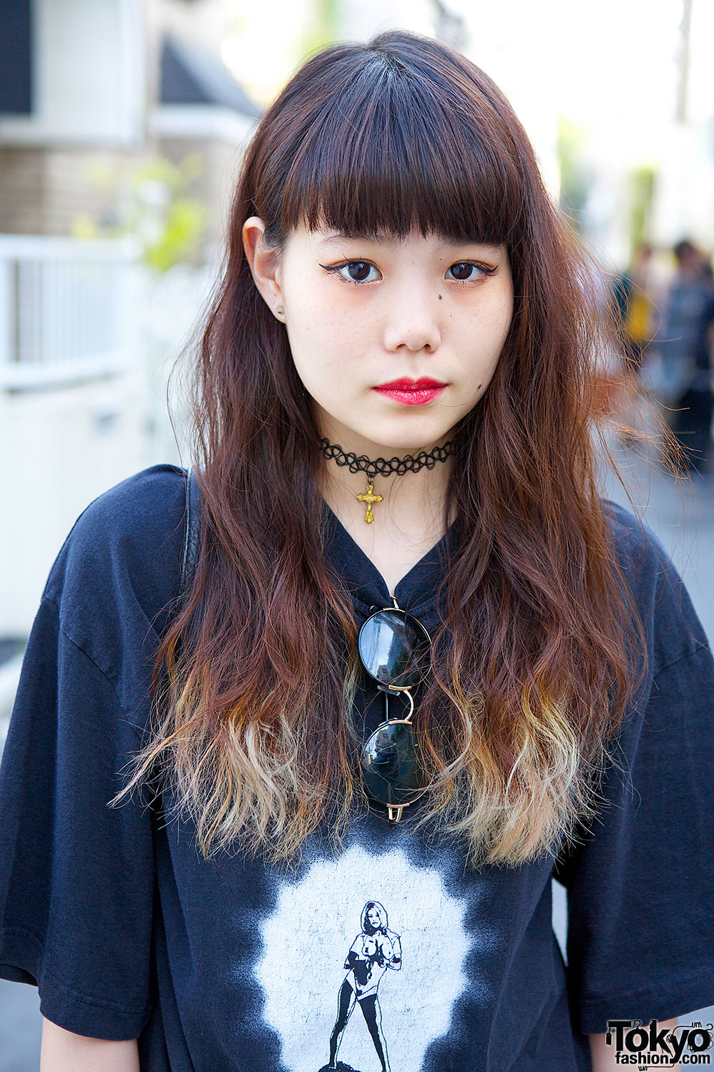 Oversized Band T-shirt w/ Dr. Martens, Choker & Studded Rings in Harajuku