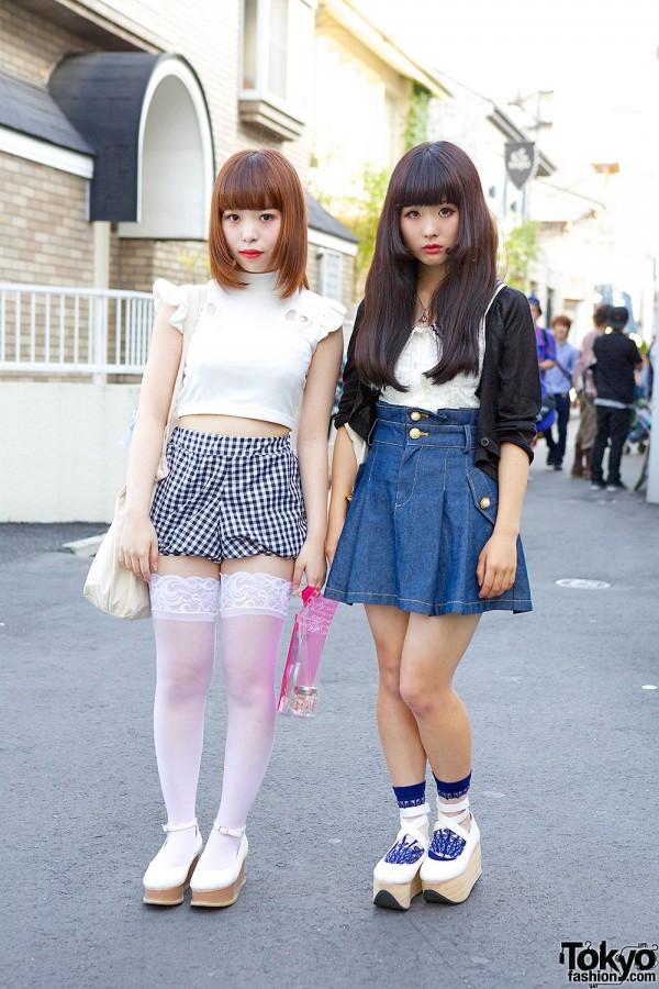 Harajuku Girls in Crop Top & Denim Skirt w/ Nile Perch, Nadia & One Spo