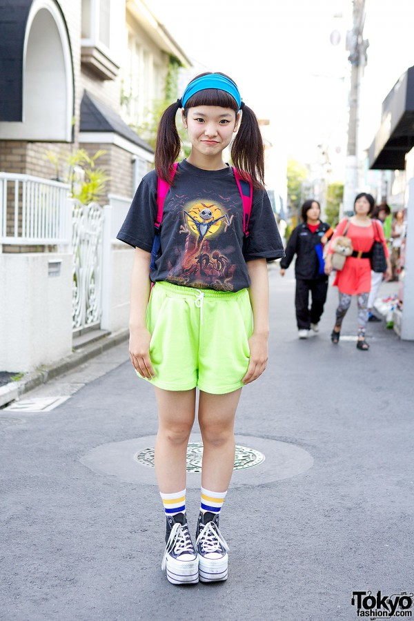 Twin Tails & WEGO Shorts in Harajuku