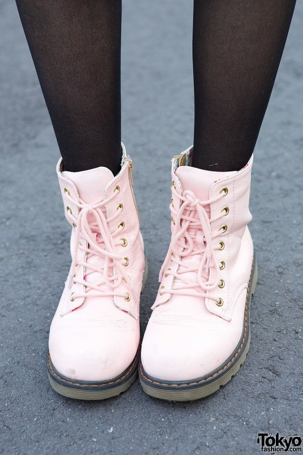 Pink Lace-up Boots