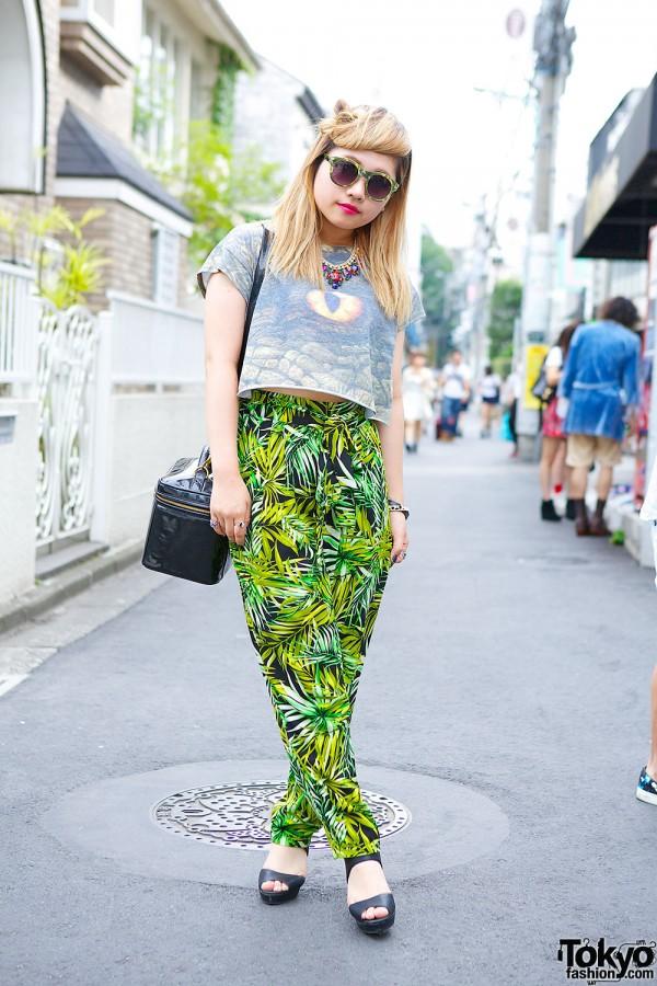 Reptile Crop Top, Tropical Pants & Chanel Bag in Harajuku