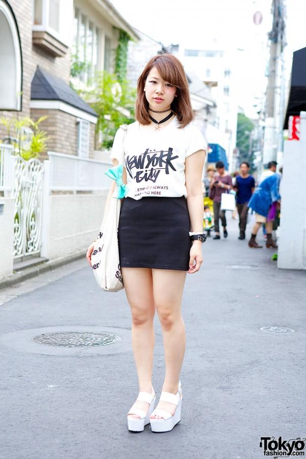 NYC Tee & Bodycon Skirt in Harajuku