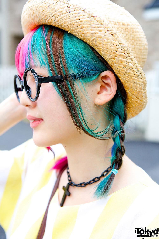 Pink Blue Twin Braids W Round Glasses Amp Straw Hat In Harajuku
