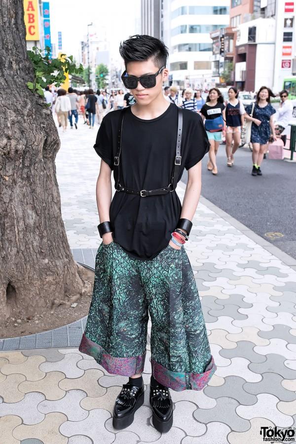 Leather Harness, Leather Cuffs & Christian Dada in Harajuku