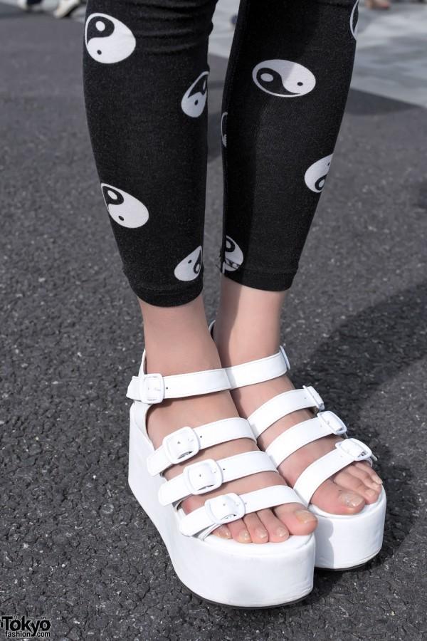 White Platform Sandals in Harajuku