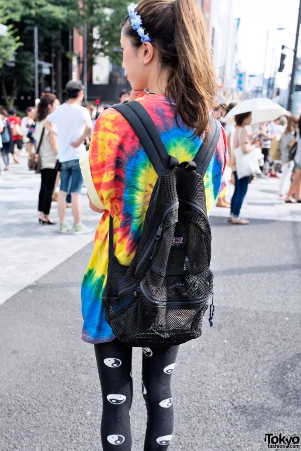 Mesh Backpack & Tie Dye in Harajuku