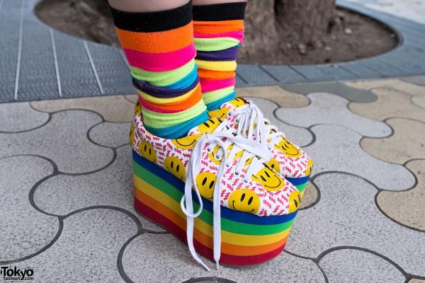 Rainbow Socks & Smiley Face Platforms