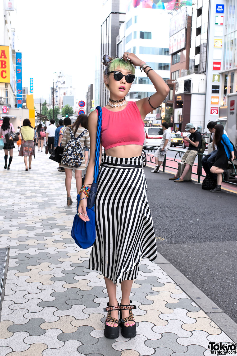 Mayu In Harajuku W Green Hair Tiara Crop Top Platform Sandals