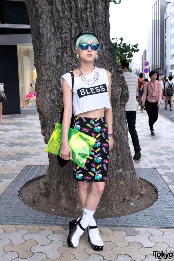 Green Hair, Crop Top & Moussy x Coca-Cola Earrings in Harajuku