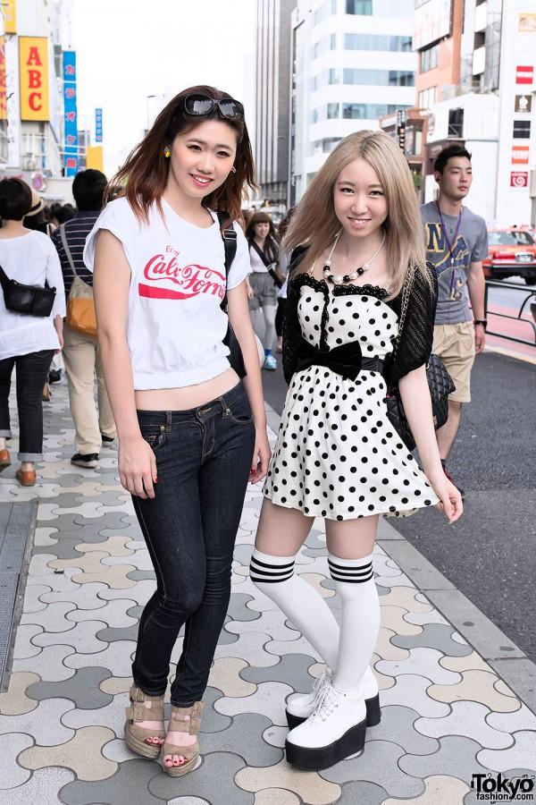 Crop Top, Polka Dot Dress, Espadrille Wedges & Platforms in Harajuku