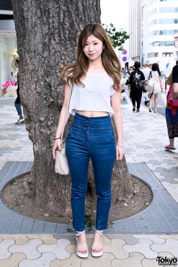 Crop Top, Navel Piercing, High Waist Jeans & Samantha Vega in Harajuku
