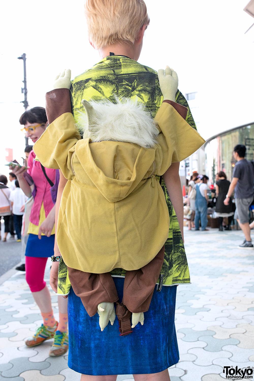 Yoda Backpack, Crop Top, Platform Sandals & Nose Ring in