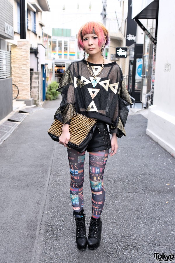 Unicorn Earrings, Colorful Hair, Avantgarde Tights & Dog Harajuku Platforms
